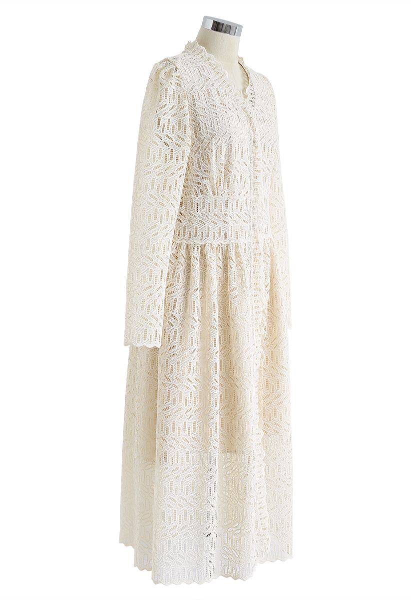 Full Crochet V-Neck Button Down Midi Dress in Cream