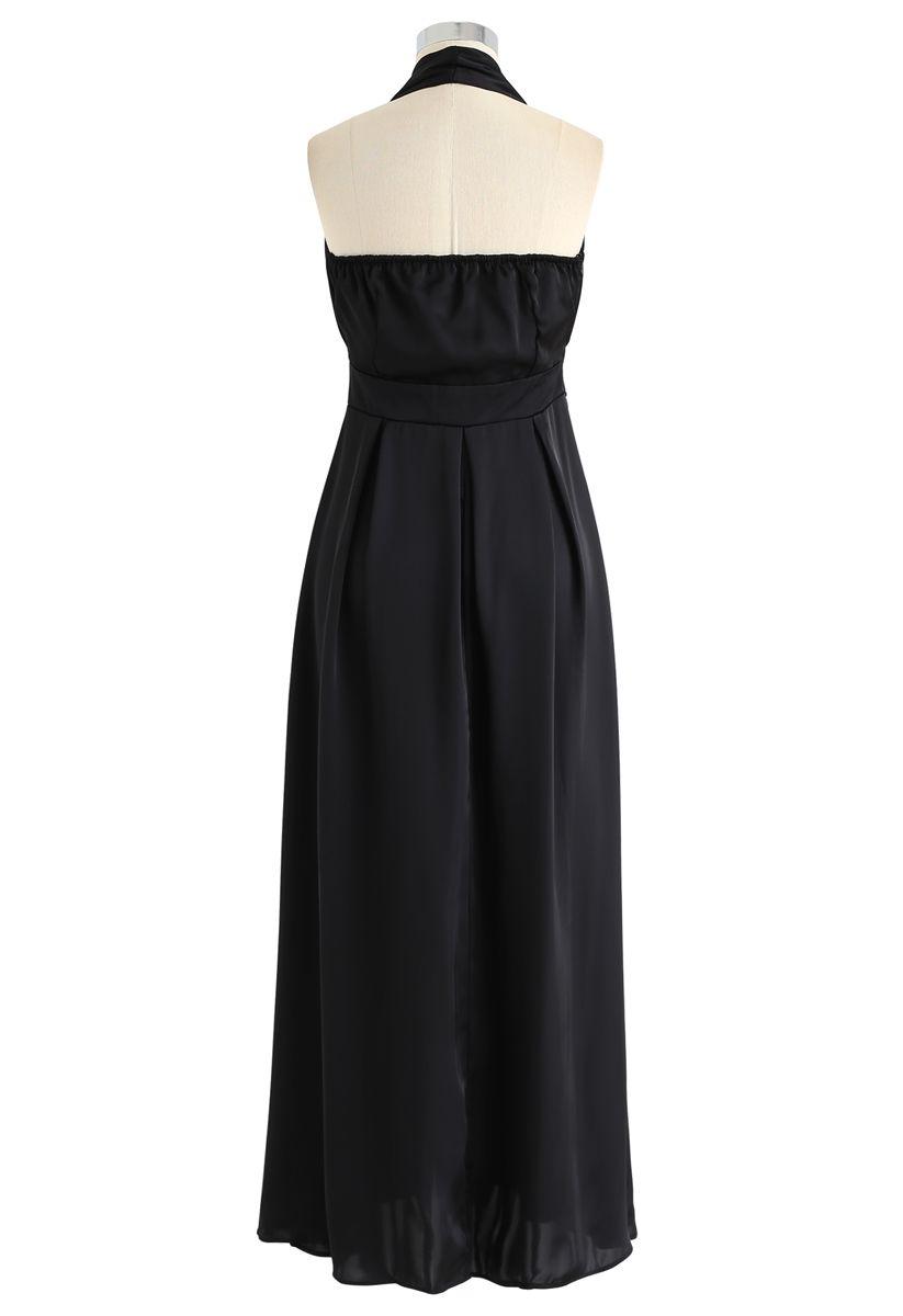 Halter Neck Open Back Maxi Dress