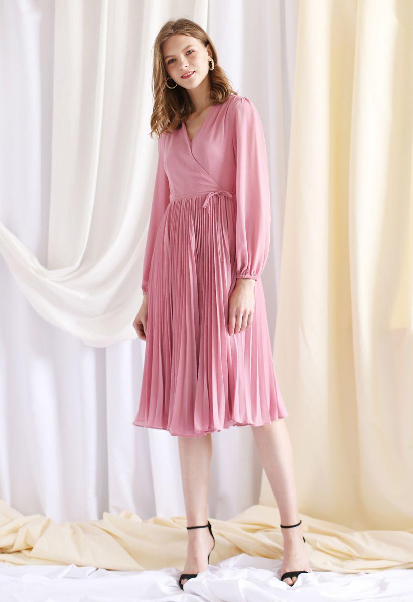Pinky V-Neck Wrap Pleated Chiffon Dress