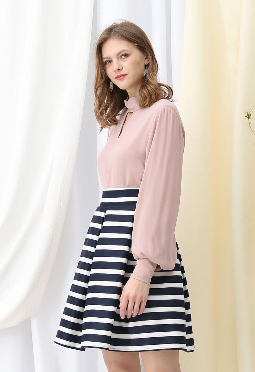 Falda midi plisada de rayas adorables