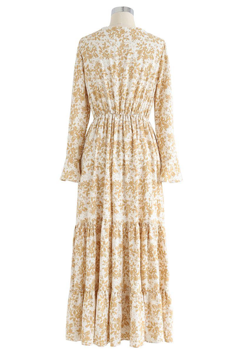 Lily Print Wrap Chiffon Maxi Dress in White
