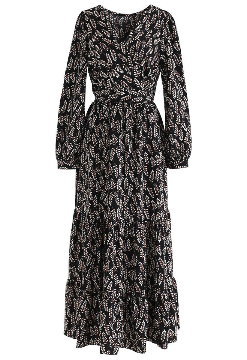 Summer Leaf Print Wrap Maxi Dress in Black