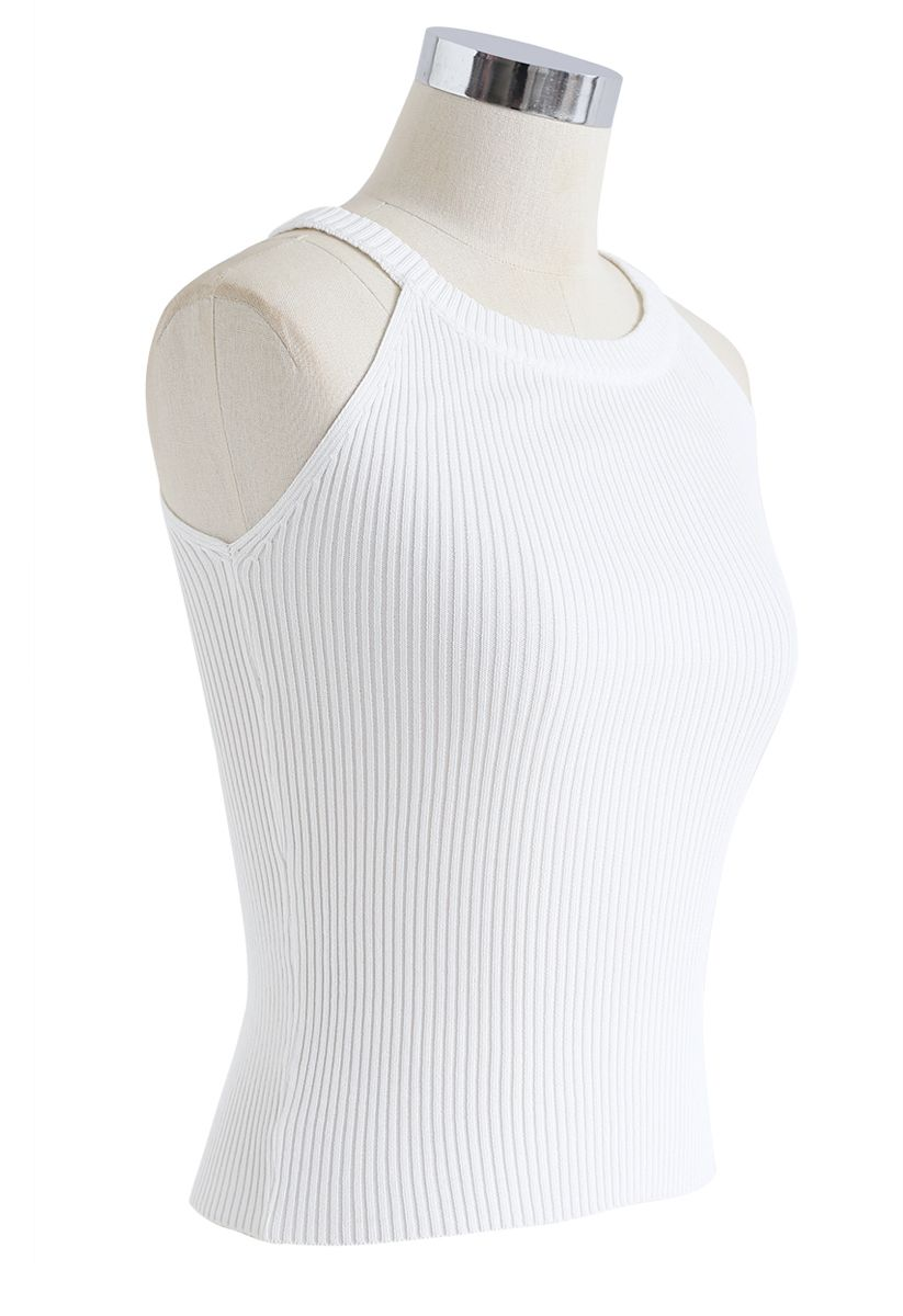 Fitted Ribbed Knit Halter Tank Top in White