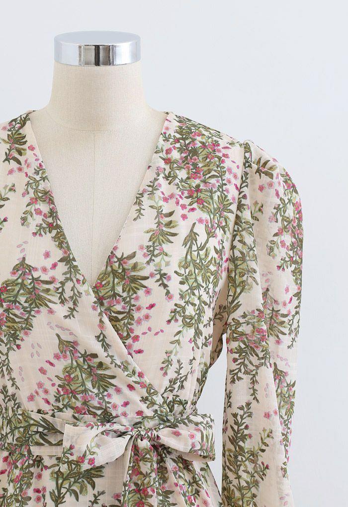 Floral Wrap Bowknot Chiffon Dress in Cream