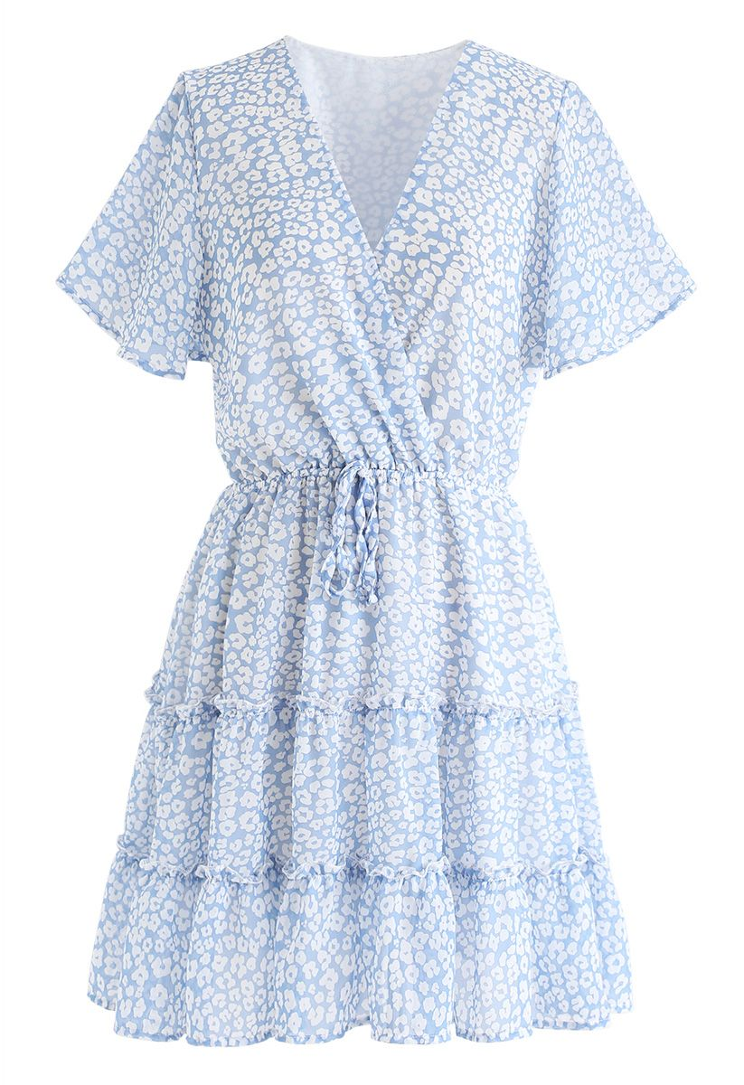 Enchanted Floret Ruffle Wrap Chiffon Dress