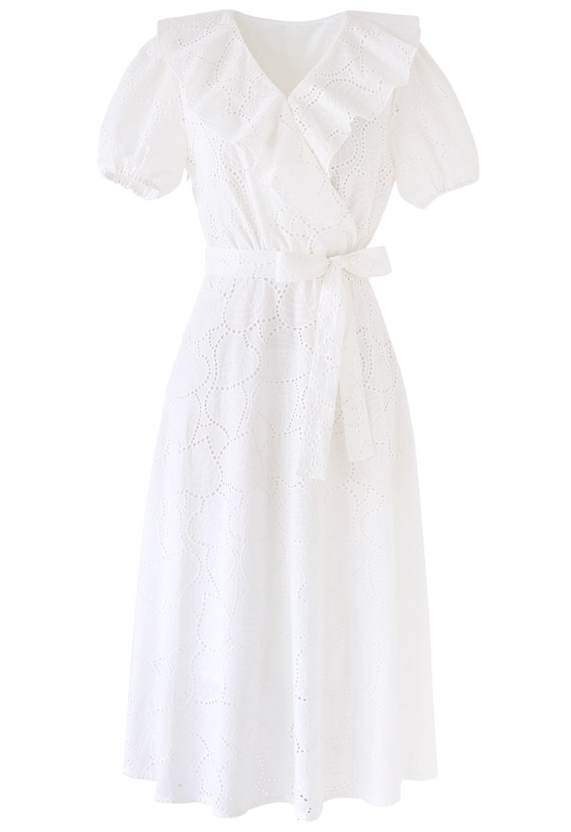 Embroidered Leaves Eyelet Ruffle Dress in White