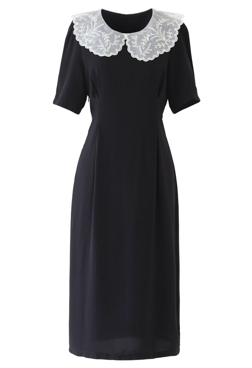 Embroidered Peter Pan Collar Black Chiffon Dress