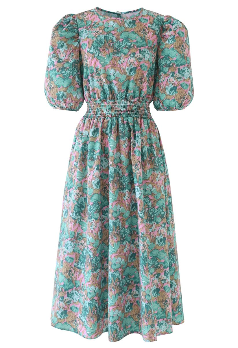 Floral Print Puff Sleeves Midi Dress in Green
