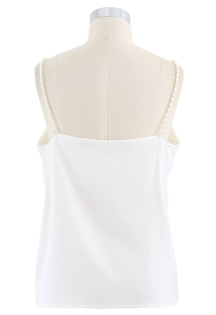Pearl Straps Satin Cami Tank Top in White