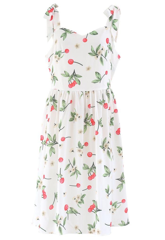 Cherry Print Tie Shoulder Midi Dress