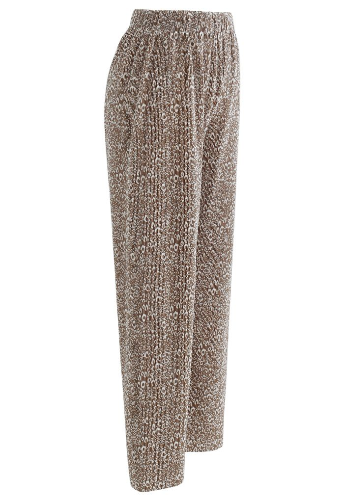 Animal Print Pleated Split Wide-Leg Pants in Tan