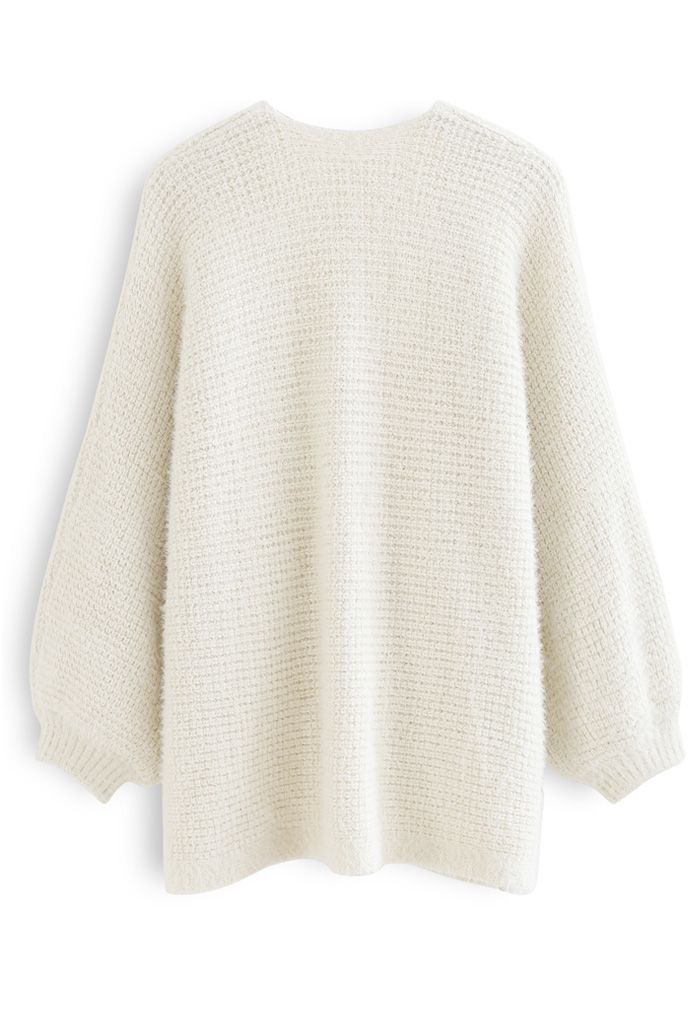 Fuzzy Open Front Waffle Knit Cardigan in Cream