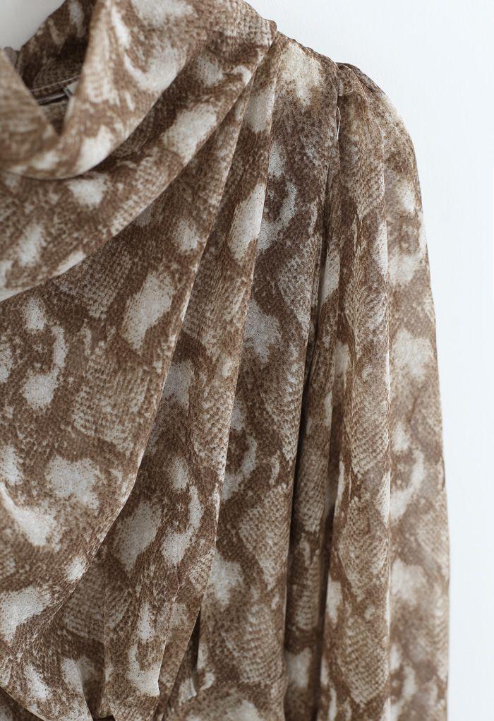 Snake Print Drape Semi-Sheer Top in Caramel