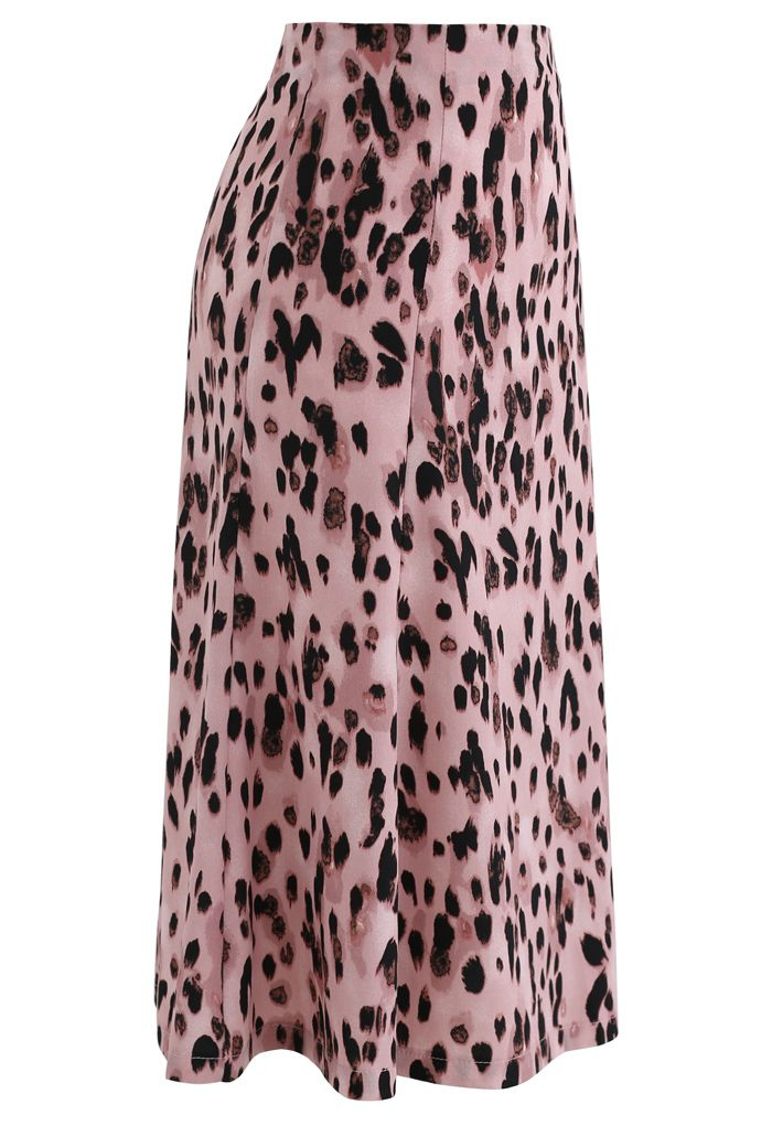 Animal Print Flare Skirt in Pink