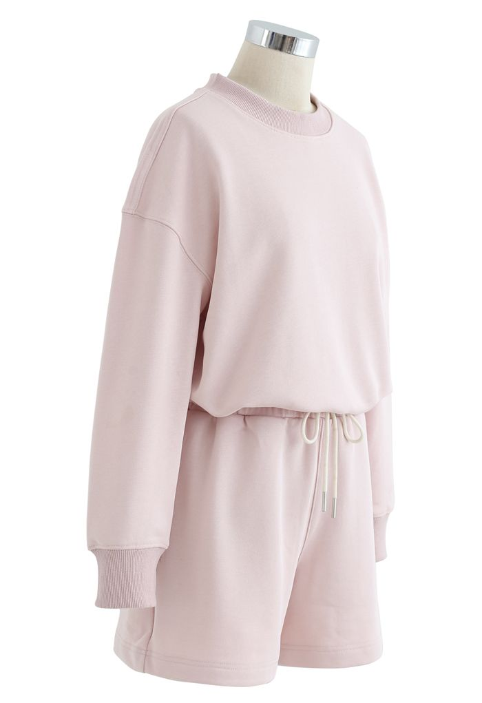Round Neck Sweatshirt and Drawstring Shorts Set in Light Pink