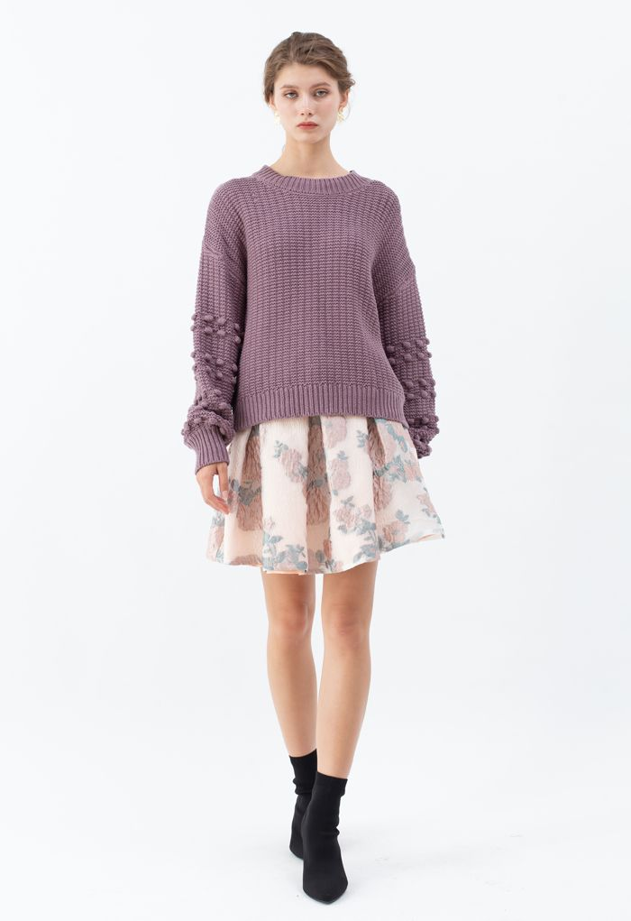 Bubble-Sleeve with Pom-Pom Detail Sweater in Purple