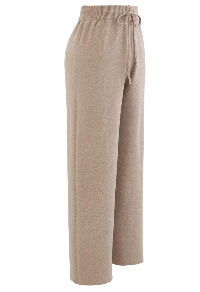 Straight Leg Drawstring Waist Knit Pants in Tan