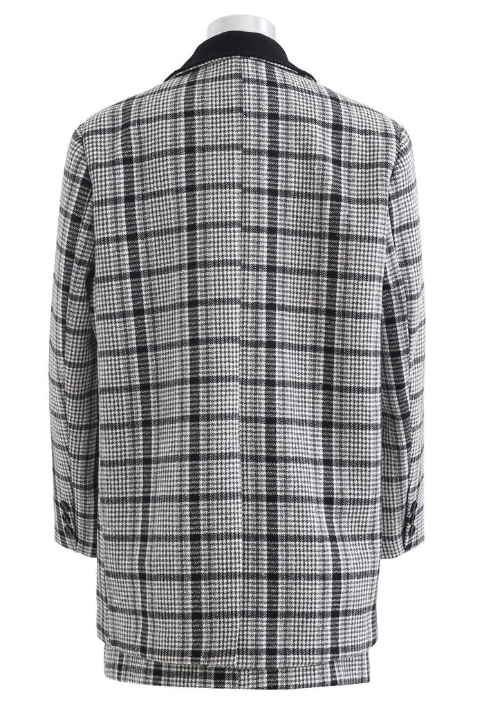 Plaid Wool-Blend Coat and Bud Mini Skirt Set