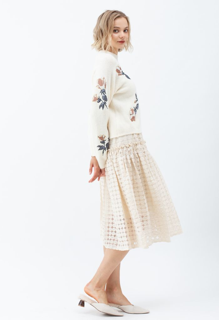 Digital Floral Print Embroidered Knit Sweater in Cream