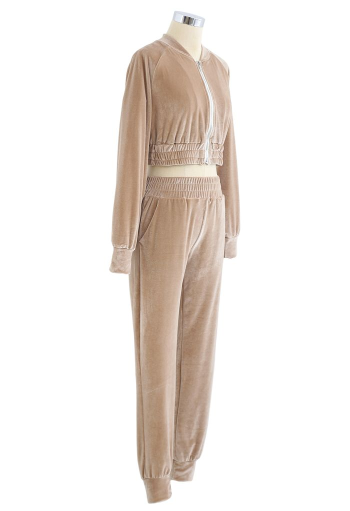Zipper Velvet Cropped Top and Joggers Set in Tan