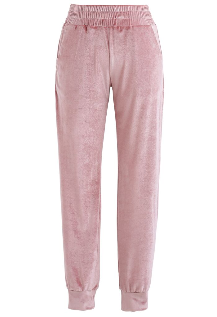 Zipper Velvet Cropped Top and Joggers Set in Pink