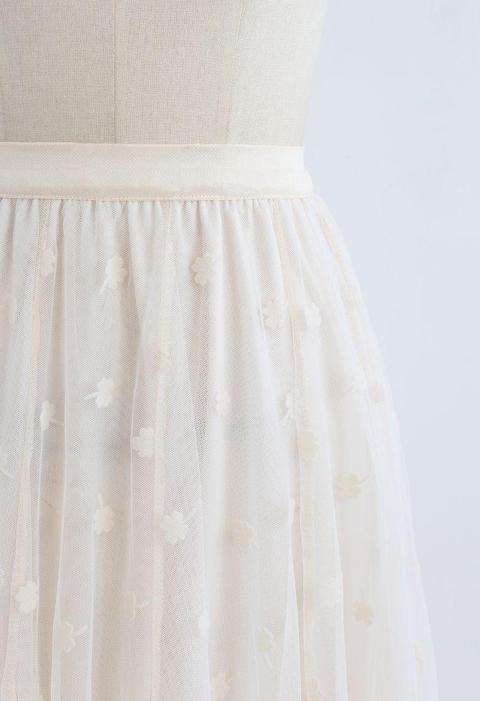 3D Clover Double-Layered Mesh Midi Skirt in Cream