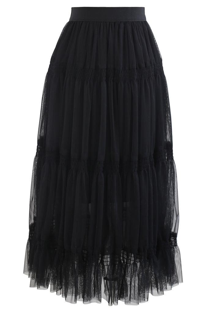 Shirred Elastic Double-Layered Mesh Skirt in Black