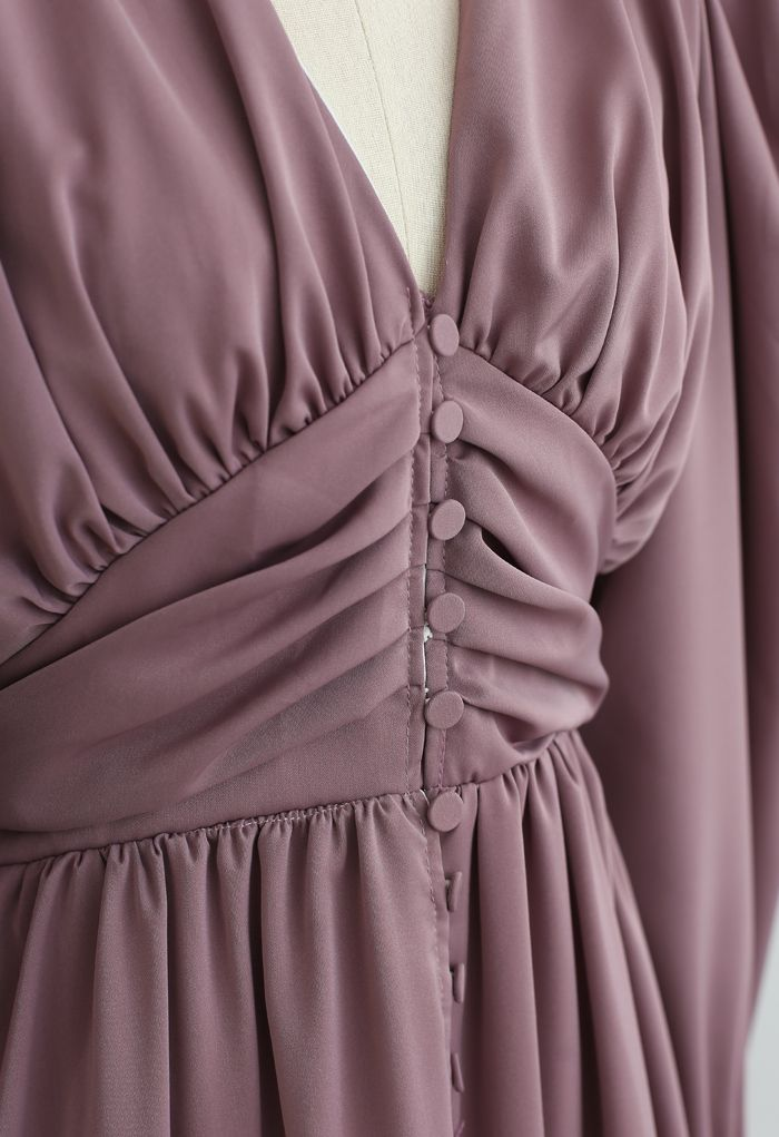 Puff Shoulder Ruched Button Down Chiffon Dress in Lilac