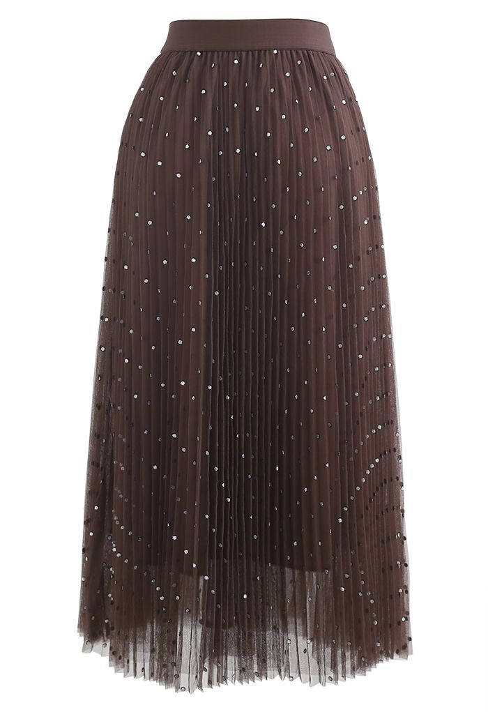 Glitter Dots Double-Layered Pleated Tulle Mesh Skirt in Brown