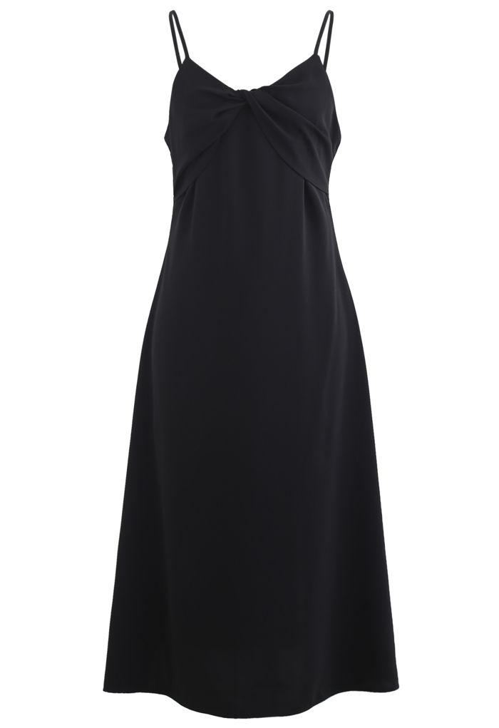 Twist Bust Flare Cami Dress in Black