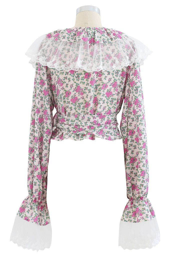 Mesh Spliced Ditsy Floral Crop Wrap Top in Pink