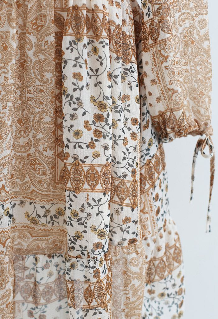 Paisley Floret Shirred Chiffon Dress