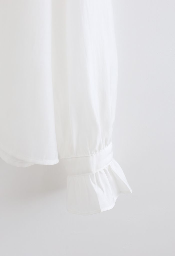 Semi-Sheer Ruffle Button Down Shirt in White