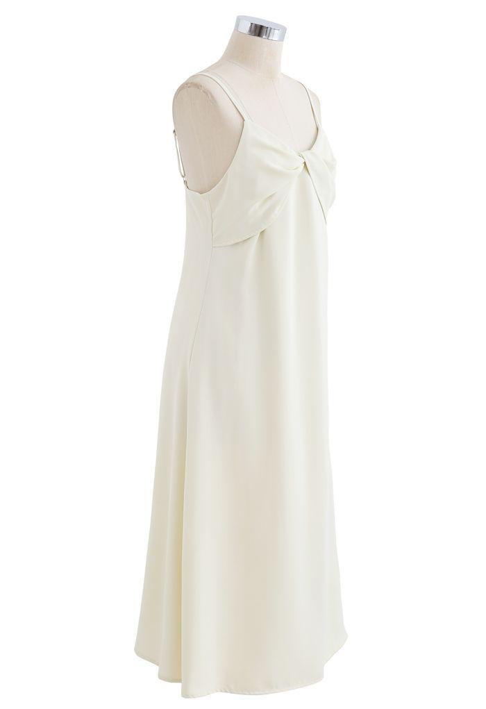Twist Bust Flare Cami Dress in Cream