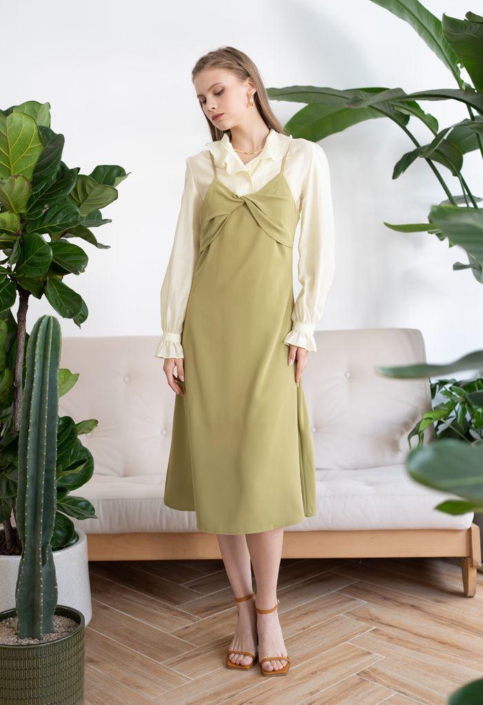 Twist Bust Flare Cami Dress in Mustard