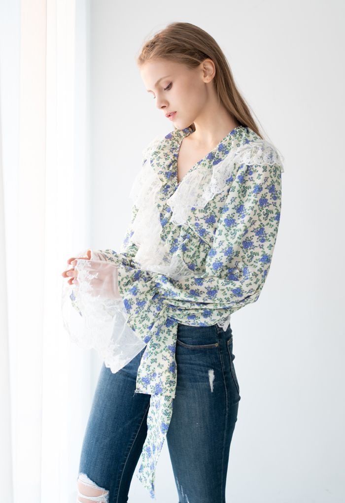 Mesh Spliced Ditsy Floral Crop Wrap Top in Light Yellow