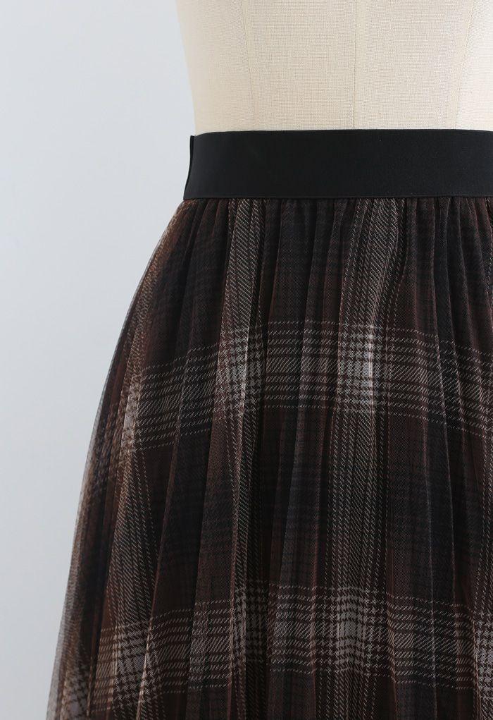 Plaid Pattern Double-Layered Mesh Tulle Midi Skirt