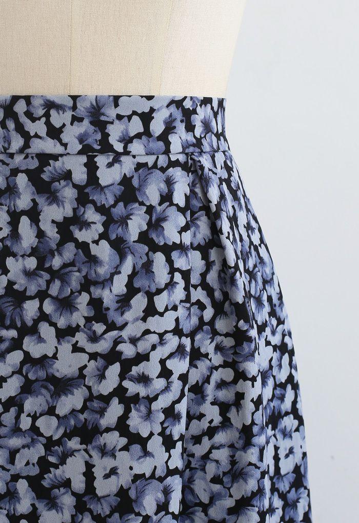 Tumbling Flowers Printed A-Line Midi Skirt in Blue