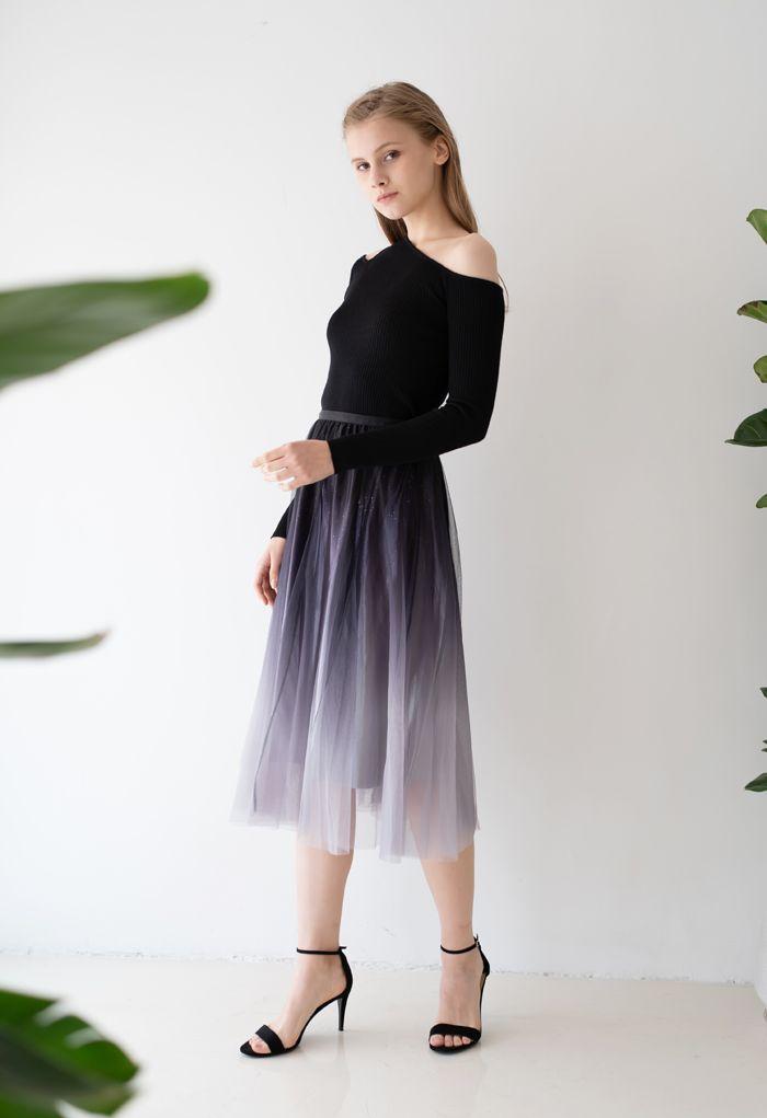 Gradient Glittery Velvet Mesh Midi Skirt in Black