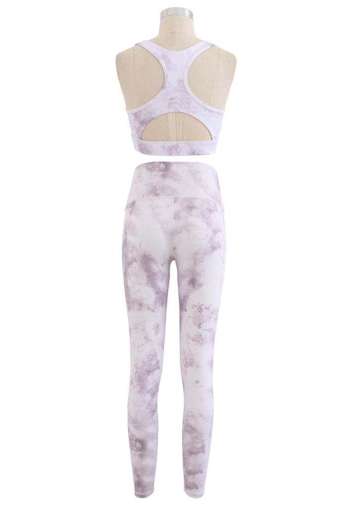 Tie Dye Cutout Back Sports Bra and Ankle-Length Leggings Set