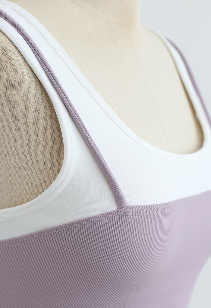 Fake Two-Piece Strappy Sports Bra in Lavender