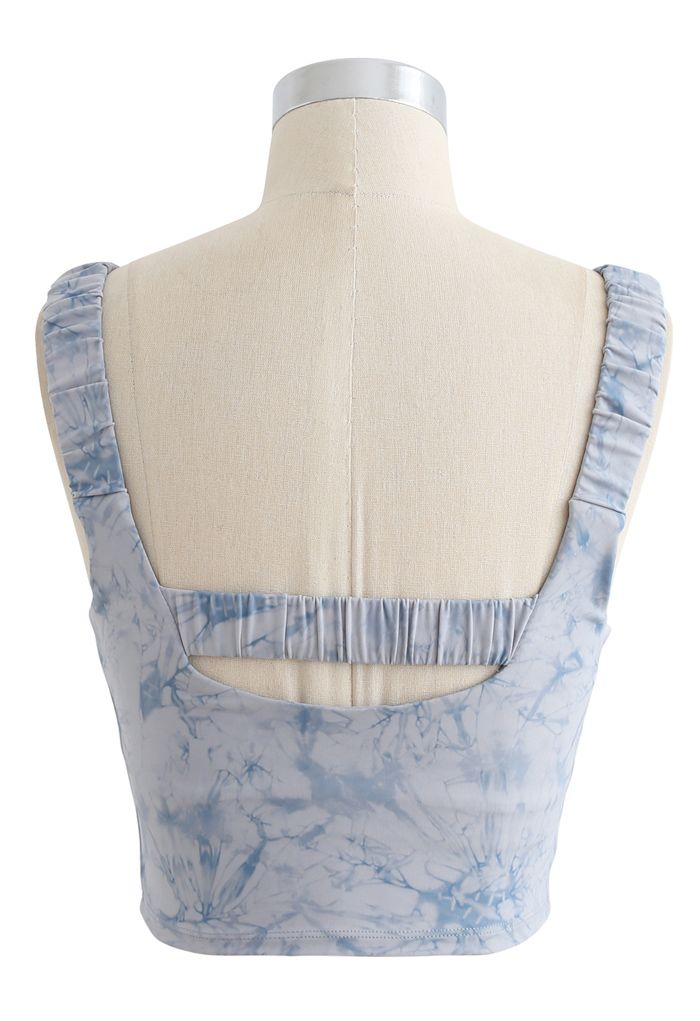 Tie-Dye Elasticated Cutout Back Sports Bra in Blue