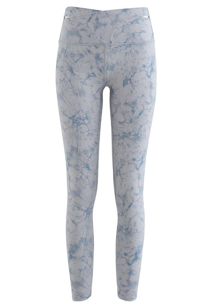 Tie-Dye Cross Waist Ankle Length Leggings in Blue