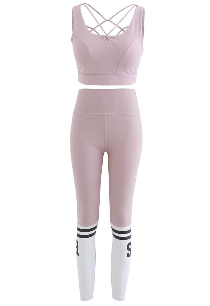 Lace-Up Back Sports Bra and Butt Lift Leggings Set in Pink