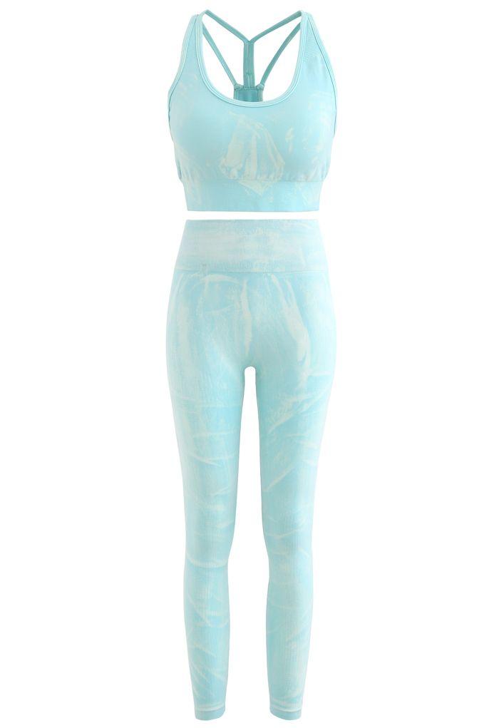 Ocean Blue Tie-Dye Sports Bra and Leggings Set