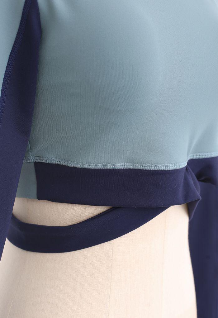 Contrast Cross Waist Top and Leggings Set in Dusty Blue