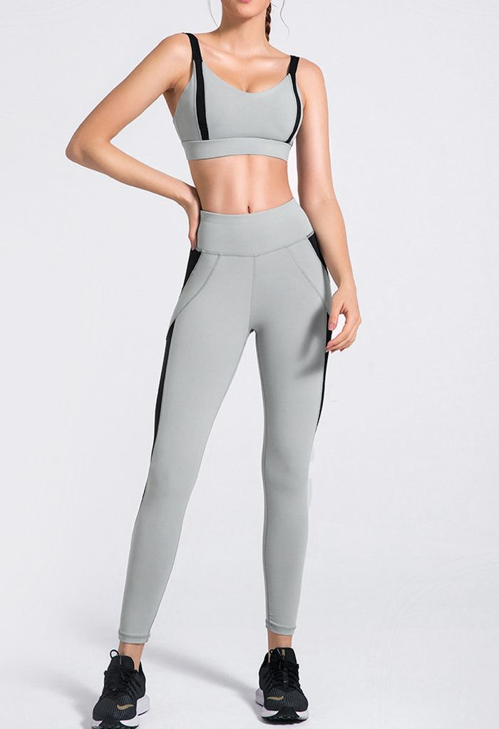 Two-Tone Sports Bra and Mesh Inserted Leggings Set in Dusty Blue
