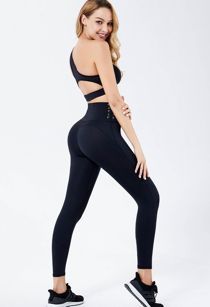 One Shoulder Lace Up Sports Bra and Leggings Set in Black