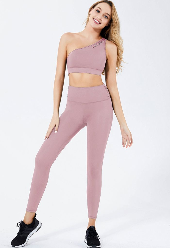 One Shoulder Lace Up Sports Bra and Leggings Set in Lilac