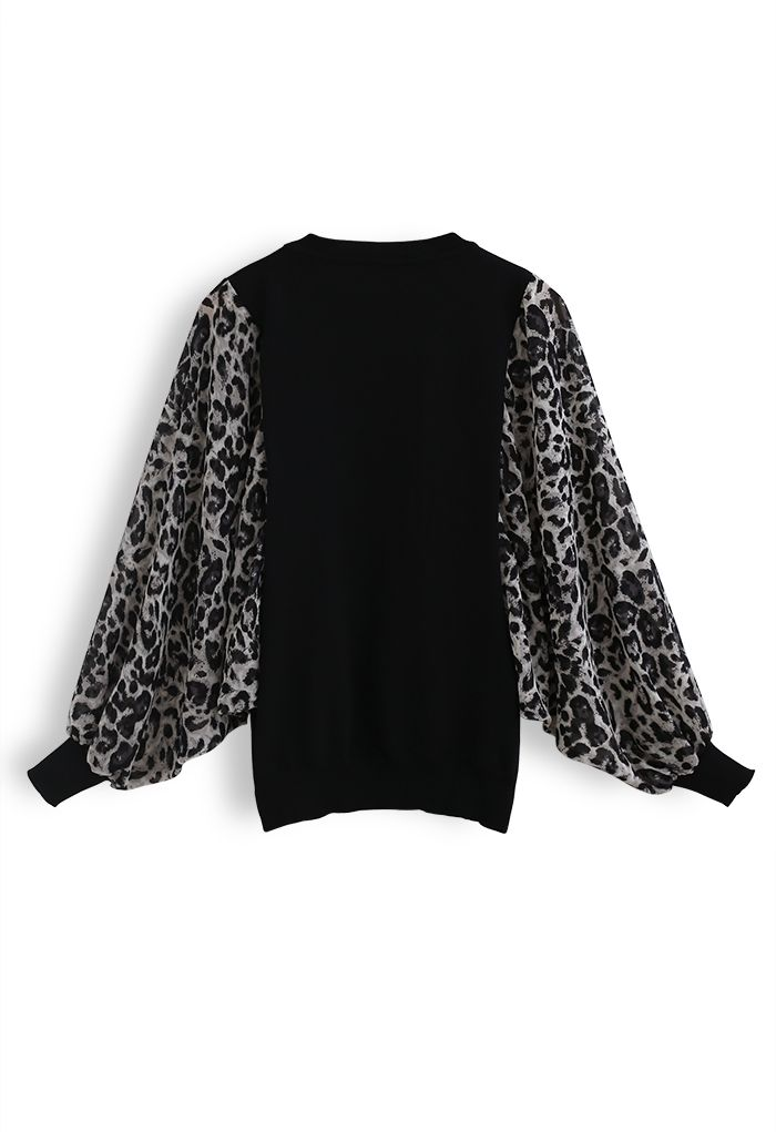 Leopard Chiffon Batwing Sleeves Knit Top in Black